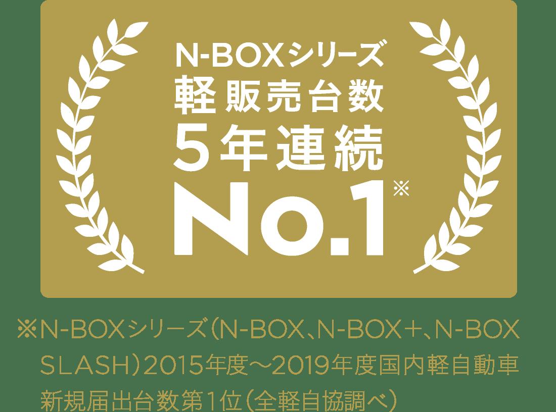 ※N-BOXシリーズ(N-BOX、N-BOX+、N-BOX SLASH)2015年度~2019年度国内軽自動車新規届出台数第1位(全軽自協調べ)