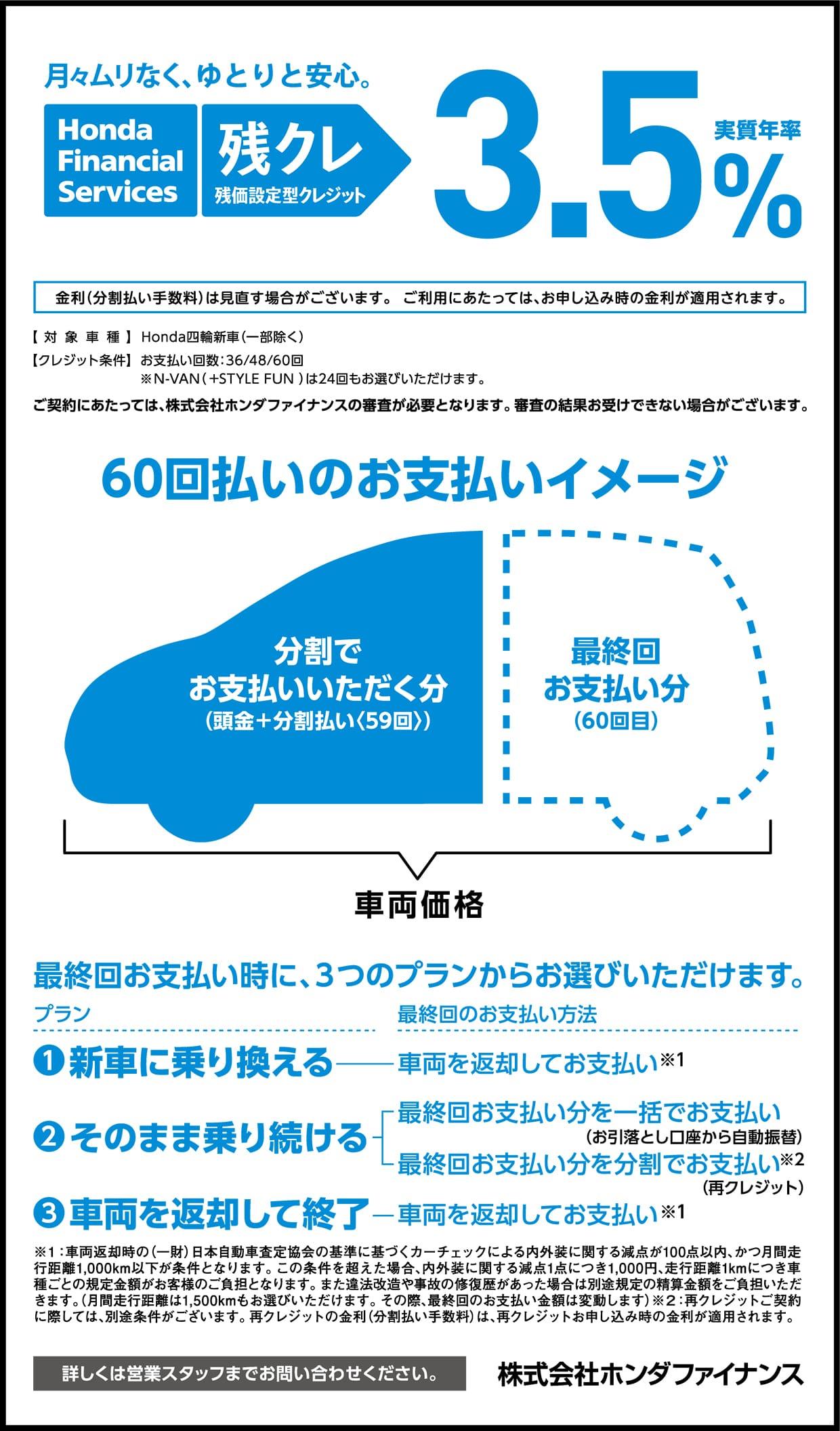 ホンダファイナンス Honda残価設定型クレジット