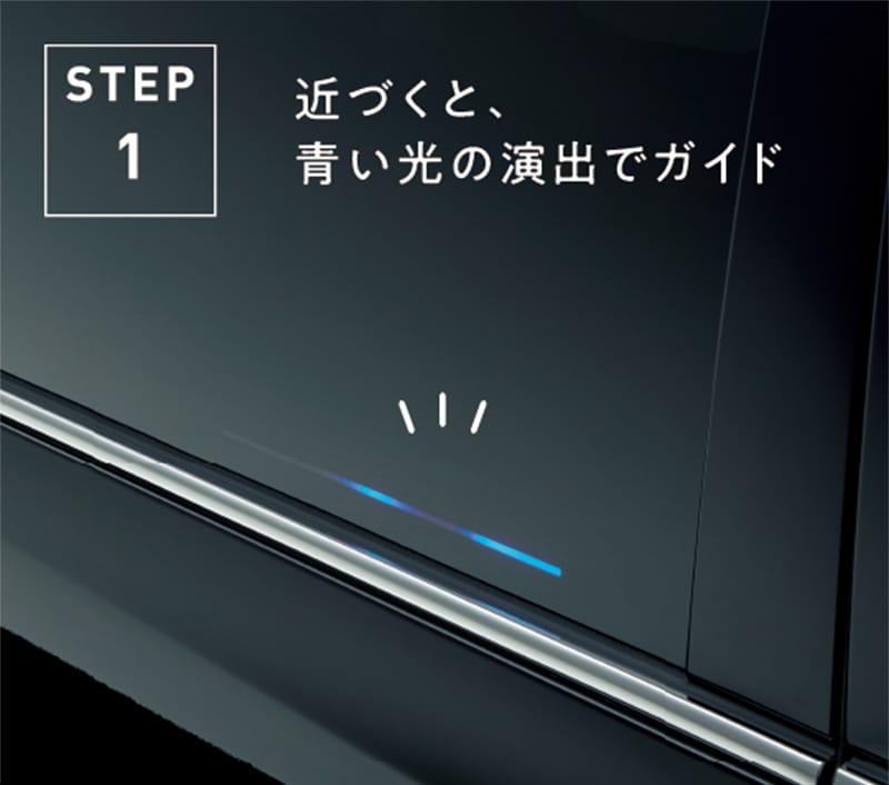 STEP1 近づくと、青い光の演出でガイド